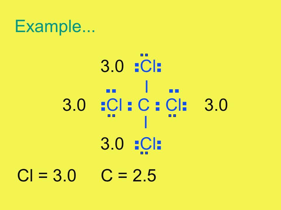 Example... 3.0 : Cl :.. I.. 3.0 : Cl : C : Cl : 3.0 I 3.0 : Cl : Cl = 3.0 C = 2.5