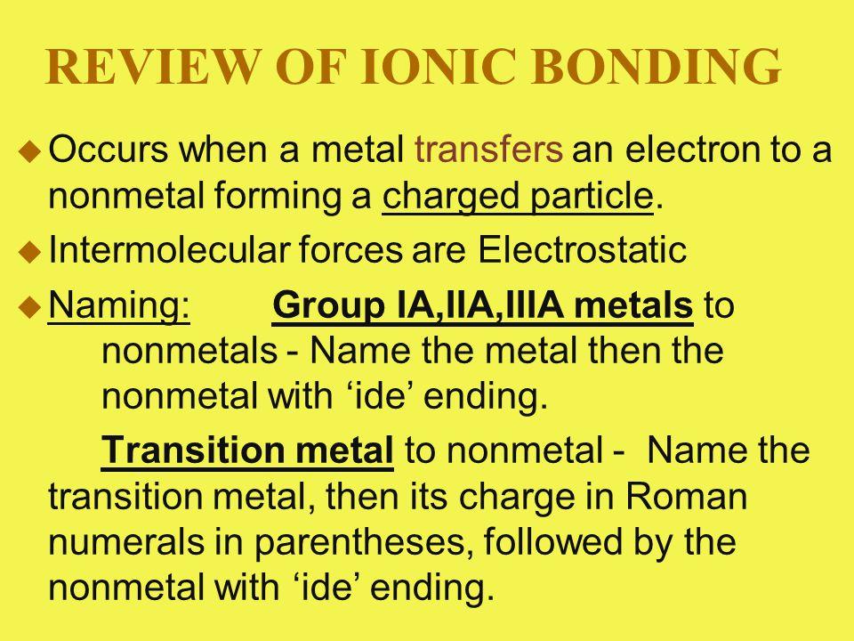 Metal to polyatomic ion – name the metal, then the polyatomic ion.