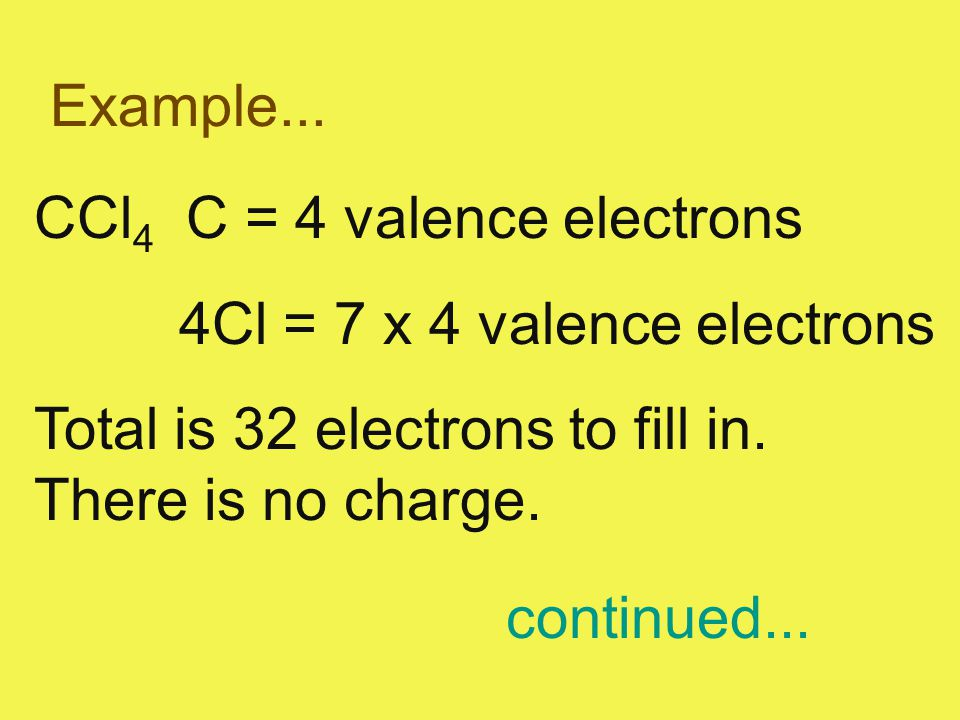 Example... CCl 4 C = 4 valence electrons 4Cl = 7 x 4 valence electrons Total is 32 electrons to fill in. There is no charge. continued...