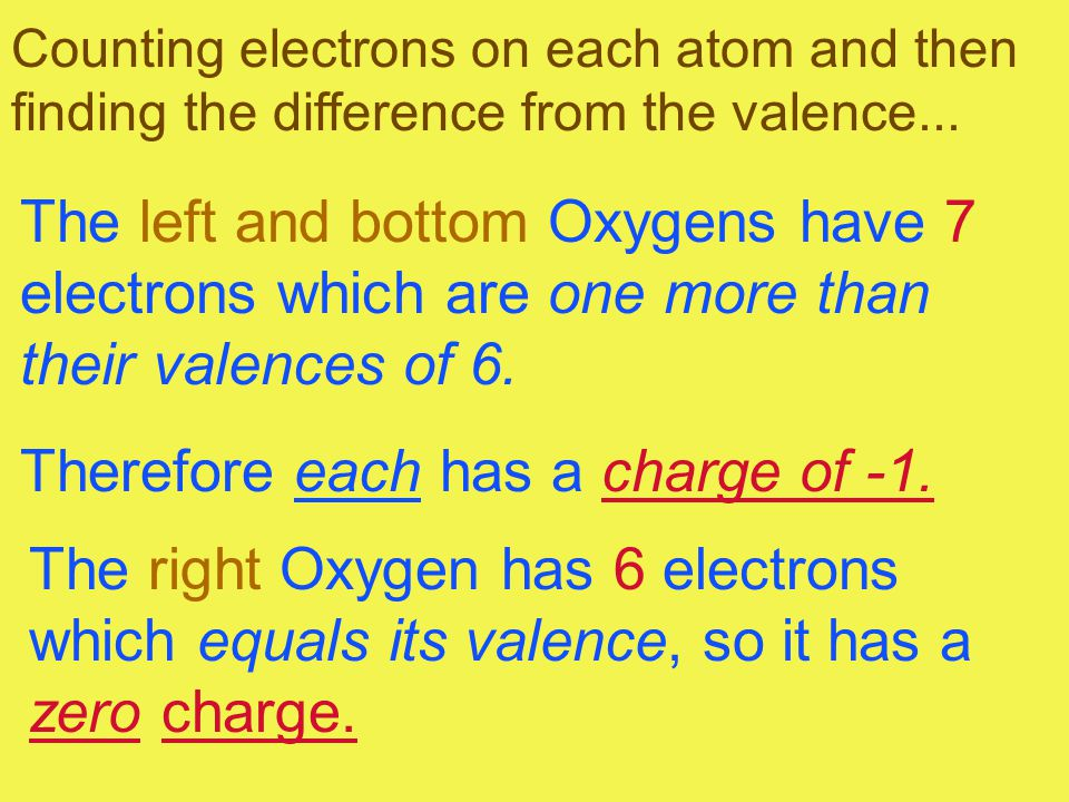 Counting electrons on each atom and then finding the difference from the valence... The left and bottom Oxygens have 7 electrons which are one more th