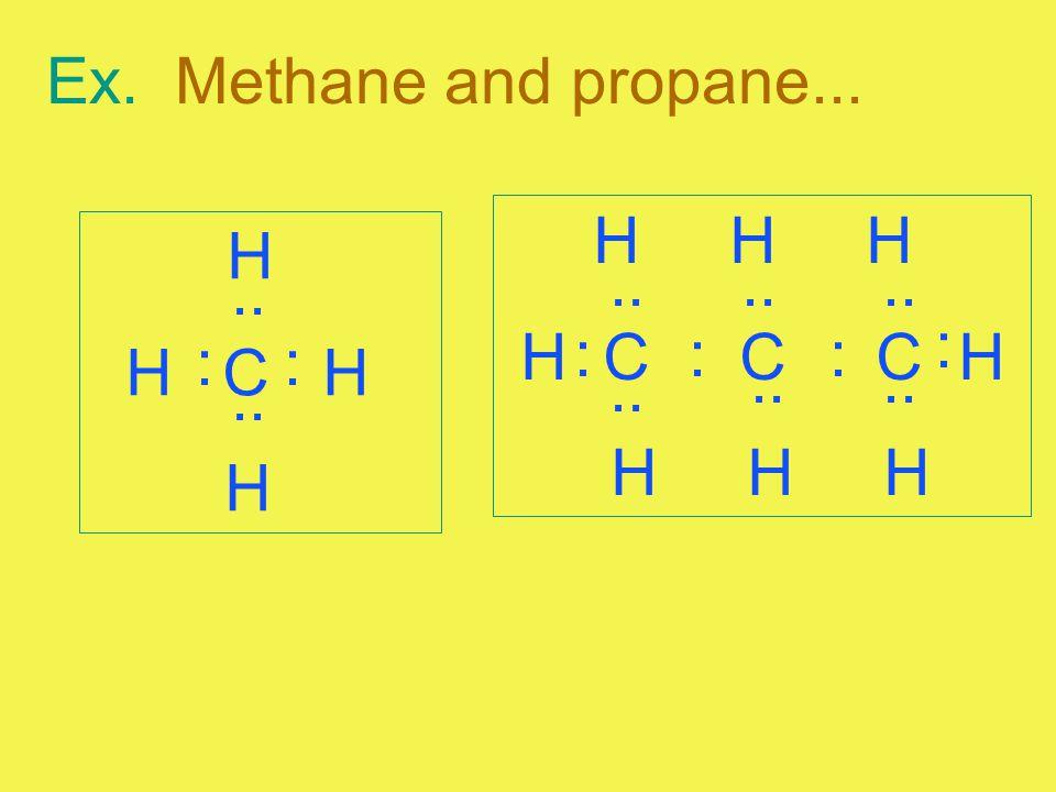 Ex. Methane and propane... H H C H H :.. : H H H H C C C H H H H.. ::: :