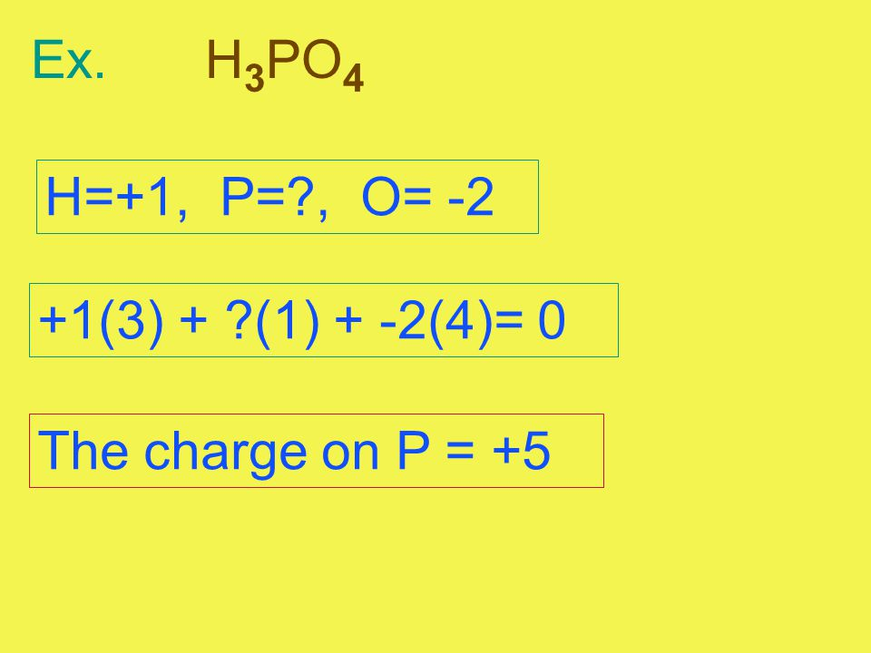 Ex.H 3 PO 4 H=+1, P=?, O= -2 +1(3) + ?(1) + -2(4)= 0 The charge on P = +5