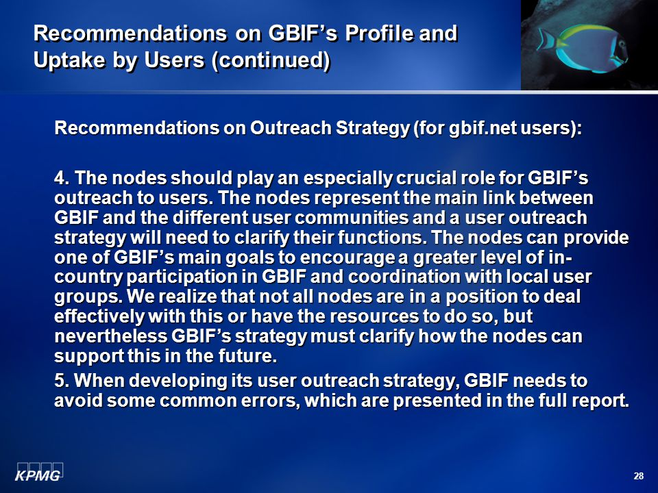 28 Recommendations on GBIF's Profile and Uptake by Users (continued) Recommendations on Outreach Strategy (for gbif.net users): 4. The nodes should pl