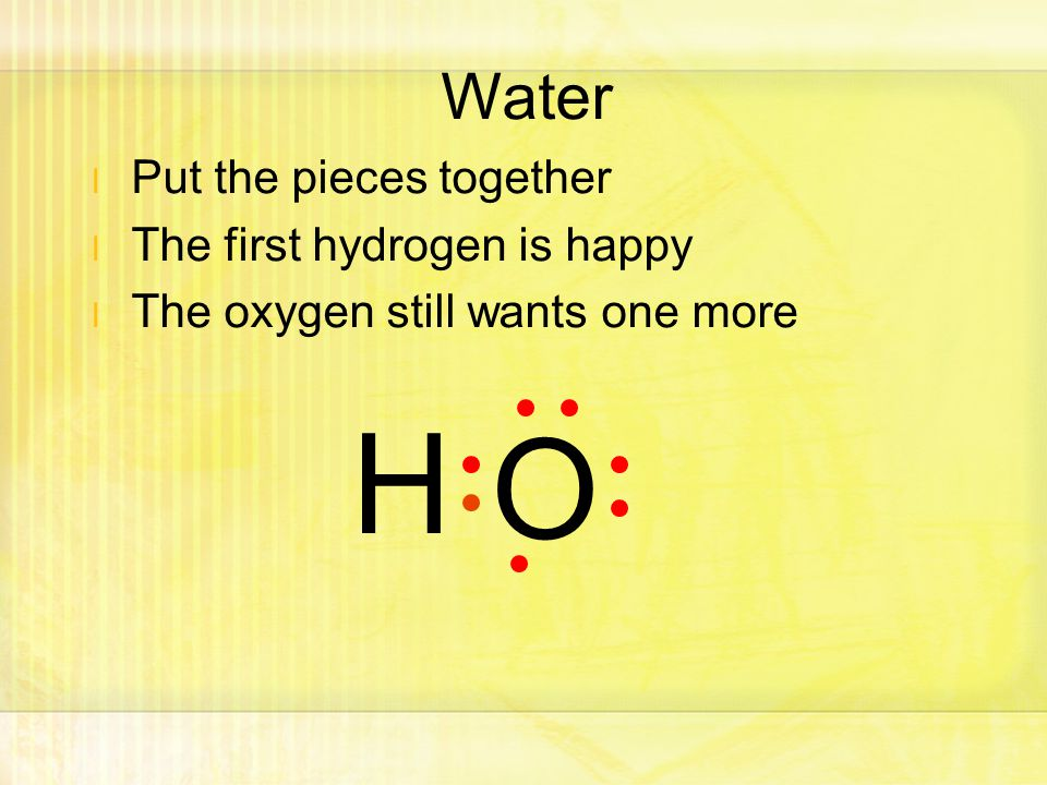 l Put the pieces together l The first hydrogen is happy l The oxygen still wants one more H O