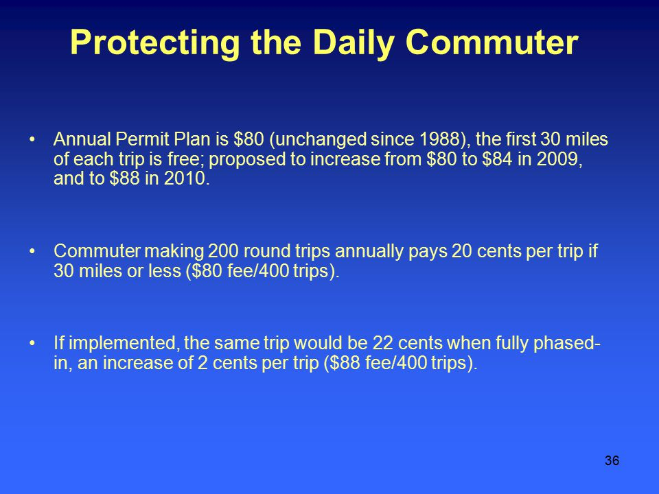 36 Protecting the Daily Commuter Annual Permit Plan is $80 (unchanged since 1988), the first 30 miles of each trip is free; proposed to increase from $80 to $84 in 2009, and to $88 in 2010.