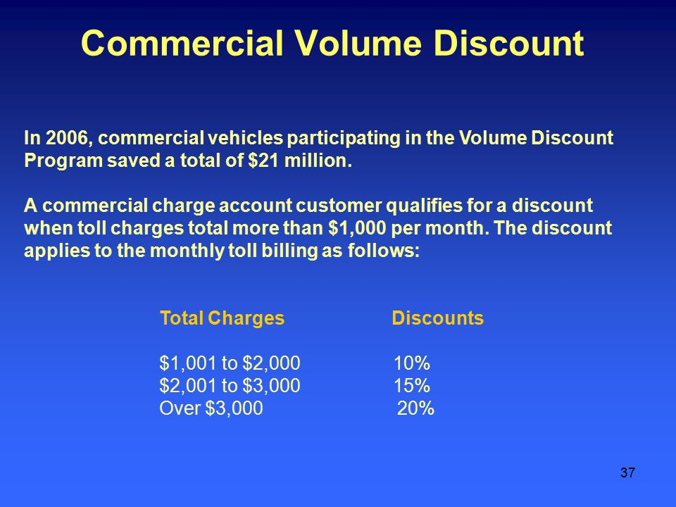 37 Commercial Volume Discount In 2006, commercial vehicles participating in the Volume Discount Program saved a total of $21 million.