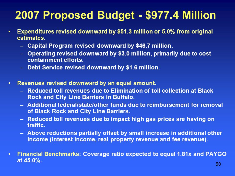 50 2007 Proposed Budget - $977.4 Million Expenditures revised downward by $51.3 million or 5.0% from original estimates.