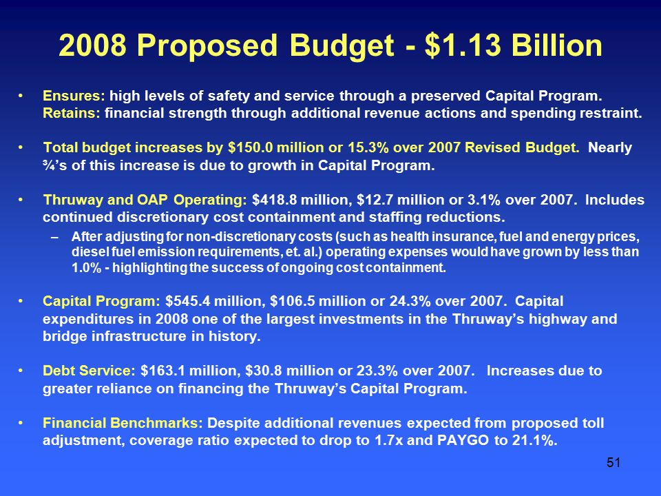 51 2008 Proposed Budget - $1.13 Billion Ensures: high levels of safety and service through a preserved Capital Program.