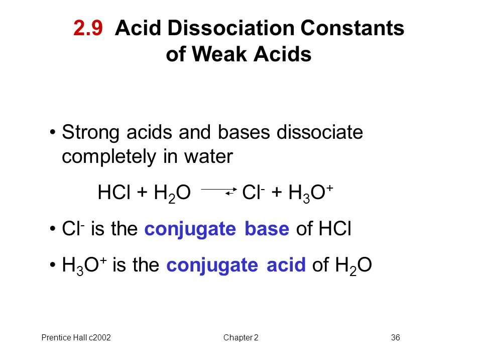 Prentice Hall c2002Chapter 236 2.9 Acid Dissociation Constants of Weak Acids Strong acids and bases dissociate completely in water HCl + H 2 OCl - + H