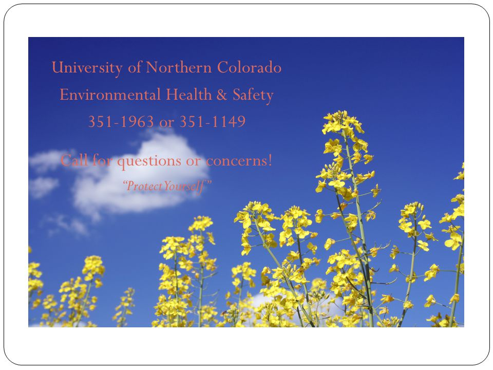 University of Northern Colorado Environmental Health & Safety 351-1963 or 351-1149 Call for questions or concerns.
