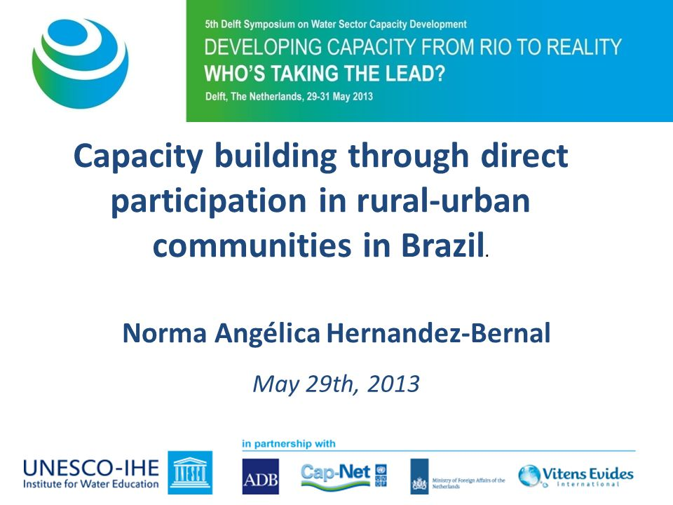 Capacity building through direct participation in rural-urban communities in Brazil.