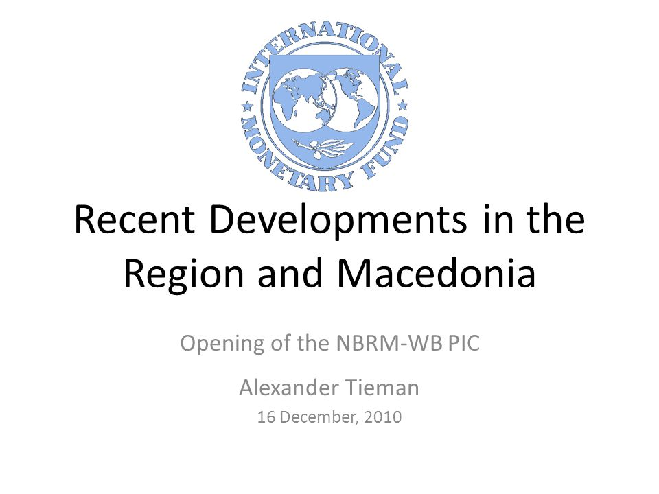 12 The Macedonian Economy in 2011 2011 is looking better than 2010 – 2011 GDP growth: 3 - 3½ percent – 2011 inflation: around 2½ percent Supported by – Growth in trading partners – Lower interest rates – Growing bank deposits – Ample liquidity