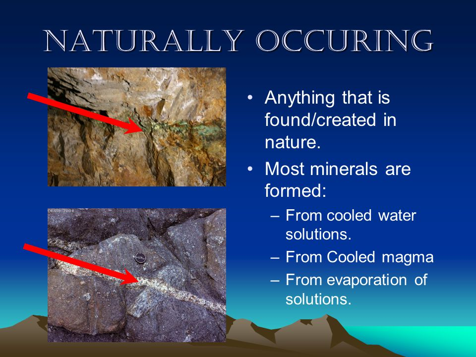 Naturally Occuring Anything that is found/created in nature.