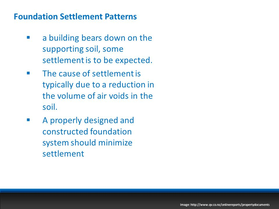 Foundation Settlement Patterns Image: http://www.qv.co.nz/onlinereports/propertydocuments  a building bears down on the supporting soil, some settlem