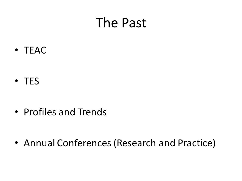 The Past TEAC TES Profiles and Trends Annual Conferences (Research and Practice)