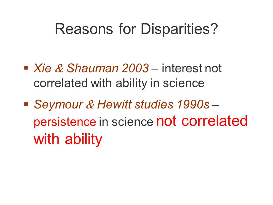 Reasons for Disparities.