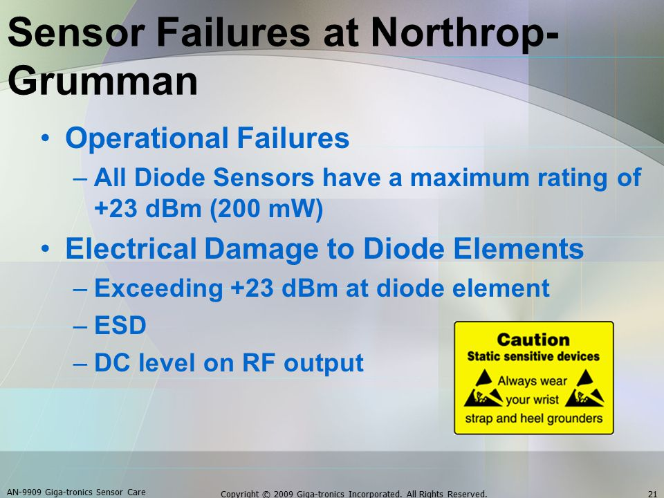 Sensor Failures at Northrop- Grumman Operational Failures –All Diode Sensors have a maximum rating of +23 dBm (200 mW) Electrical Damage to Diode Elements –Exceeding +23 dBm at diode element –ESD –DC level on RF output AN-9909 Giga-tronics Sensor Care 21Copyright © 2009 Giga-tronics Incorporated.