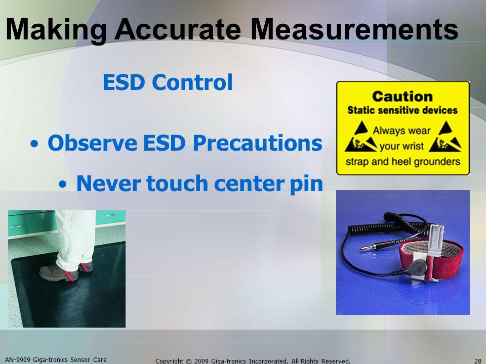 ESD Control Observe ESD Precautions Never touch center pin AN-9909 Giga-tronics Sensor Care 28Copyright © 2009 Giga-tronics Incorporated.