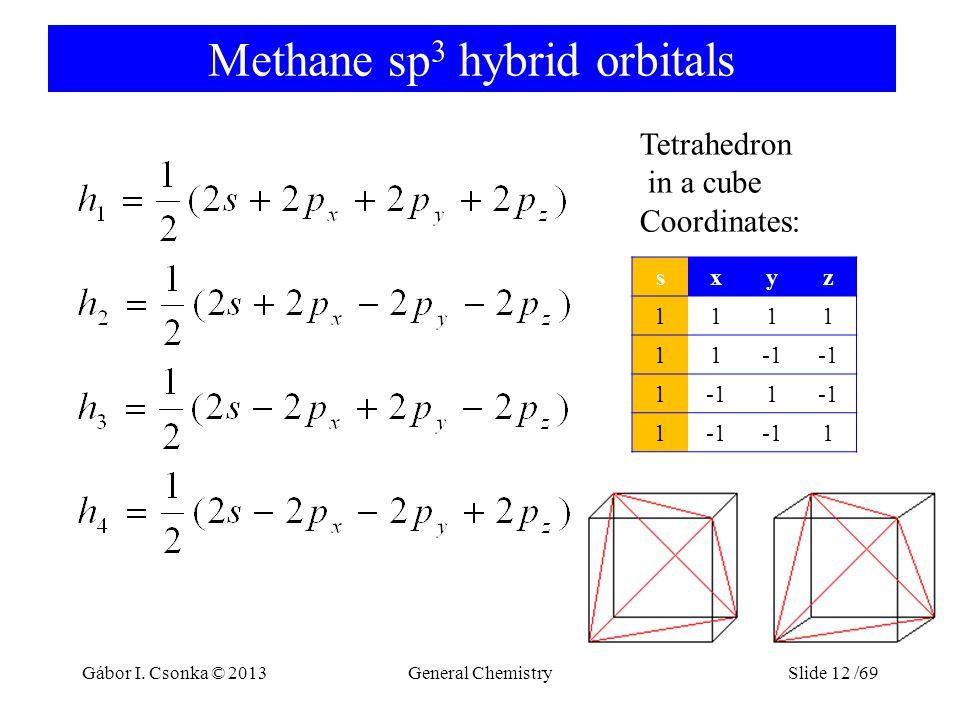Methane sp 3 hybrid orbitals General ChemistrySlide 12 /69 Tetrahedron in a cube Coordinates: sxyz 1111 11 1 1 1 1 Gábor I.