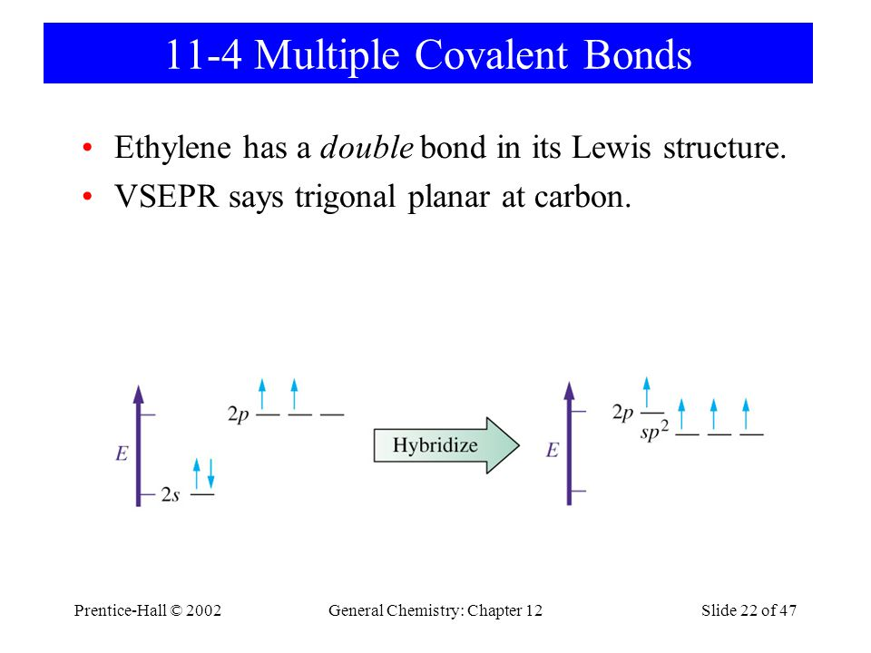 Prentice-Hall © 2002General Chemistry: Chapter 12Slide 22 of 47 11-4 Multiple Covalent Bonds Ethylene has a double bond in its Lewis structure.