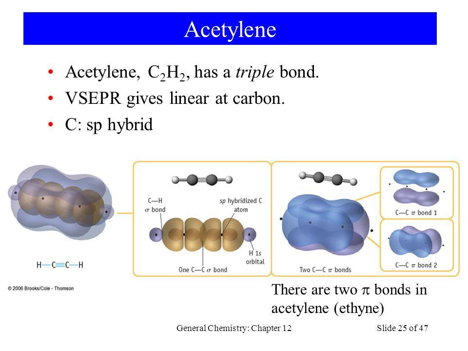 General Chemistry: Chapter 12Slide 25 of 47 Acetylene Acetylene, C 2 H 2, has a triple bond.