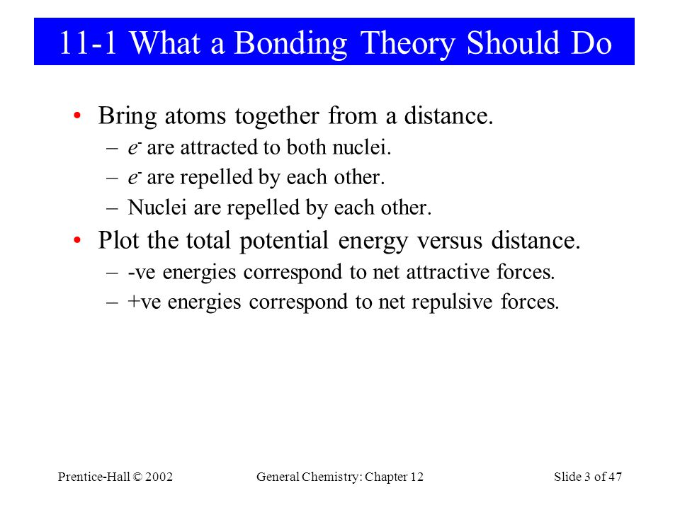 Prentice-Hall © 2002General Chemistry: Chapter 12Slide 3 of 47 11-1 What a Bonding Theory Should Do Bring atoms together from a distance. –e - are att