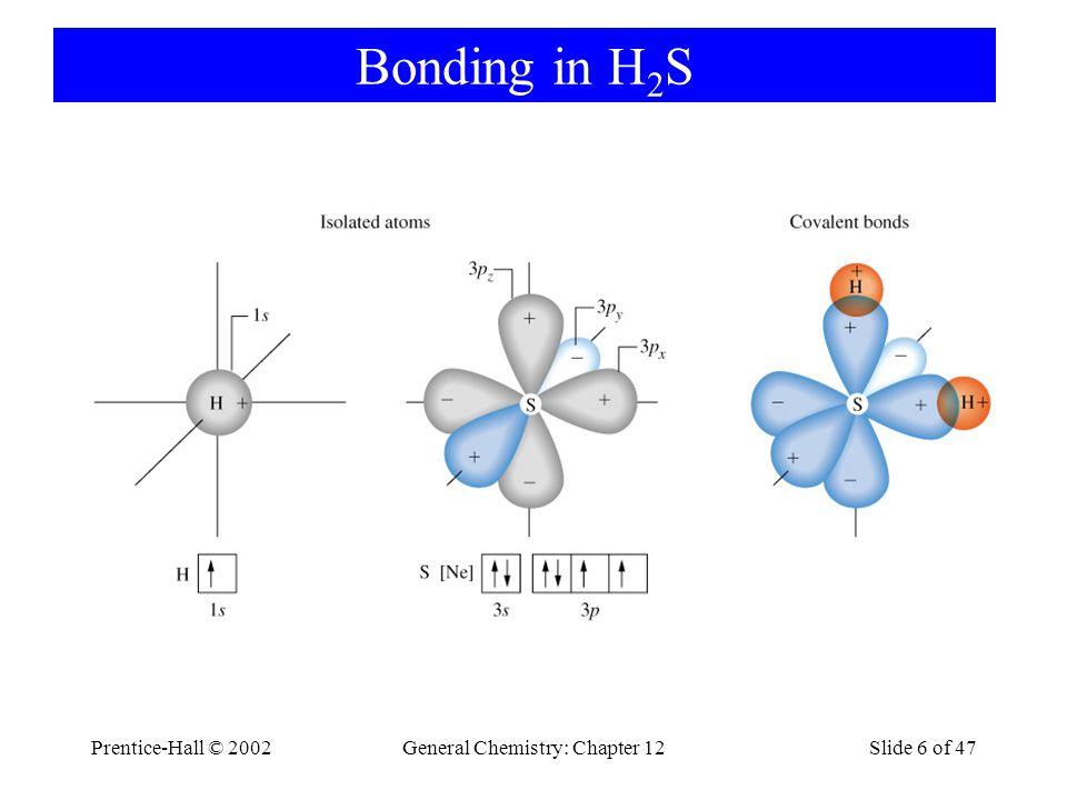 Prentice-Hall © 2002General Chemistry: Chapter 12Slide 6 of 47 Bonding in H 2 S