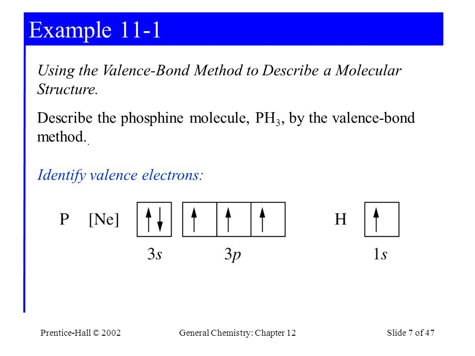Prentice-Hall © 2002General Chemistry: Chapter 12Slide 7 of 47 Example 11-1 Using the Valence-Bond Method to Describe a Molecular Structure.