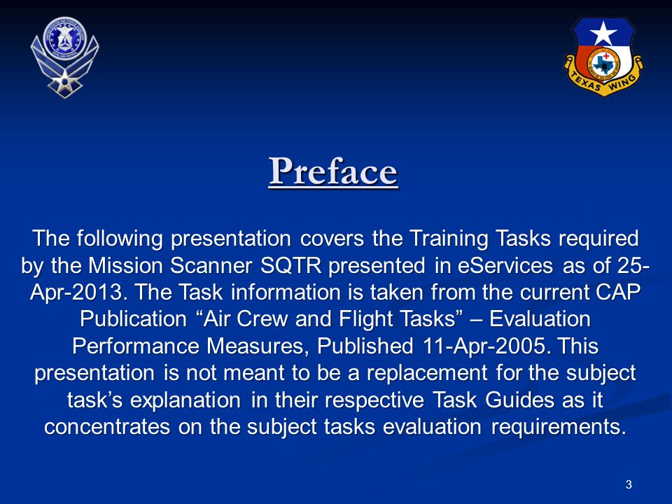 Familiarization and Preparatory Training 4