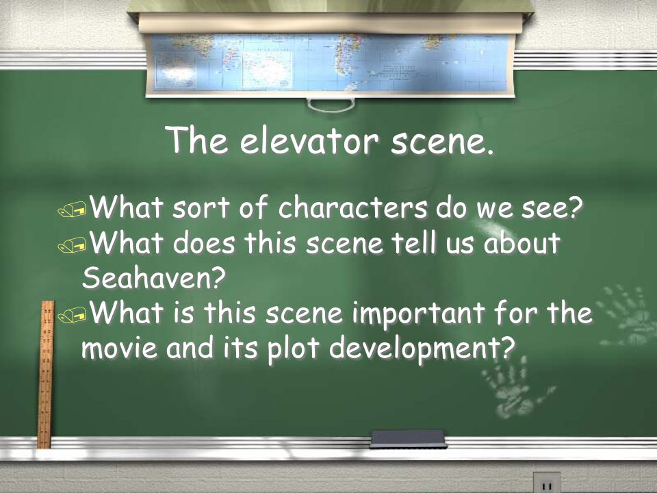 The elevator scene. / What sort of characters do we see? / What does this scene tell us about Seahaven? / What is this scene important for the movie a