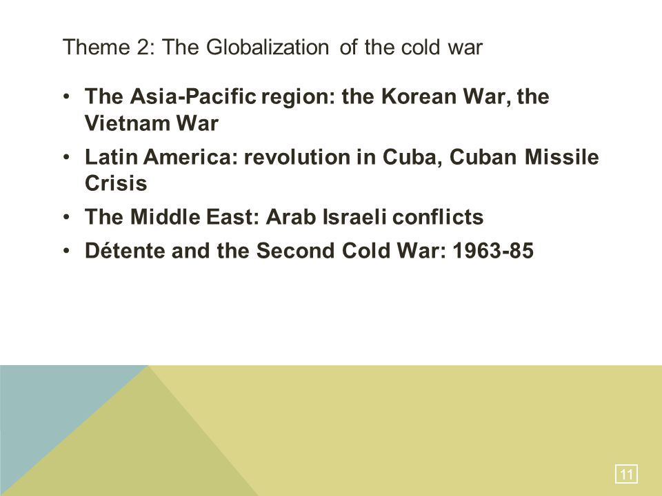 11 Theme 2: The Globalization of the cold war The Asia-Pacific region: the Korean War, the Vietnam War Latin America: revolution in Cuba, Cuban Missile Crisis The Middle East: Arab Israeli conflicts Détente and the Second Cold War: 1963-85
