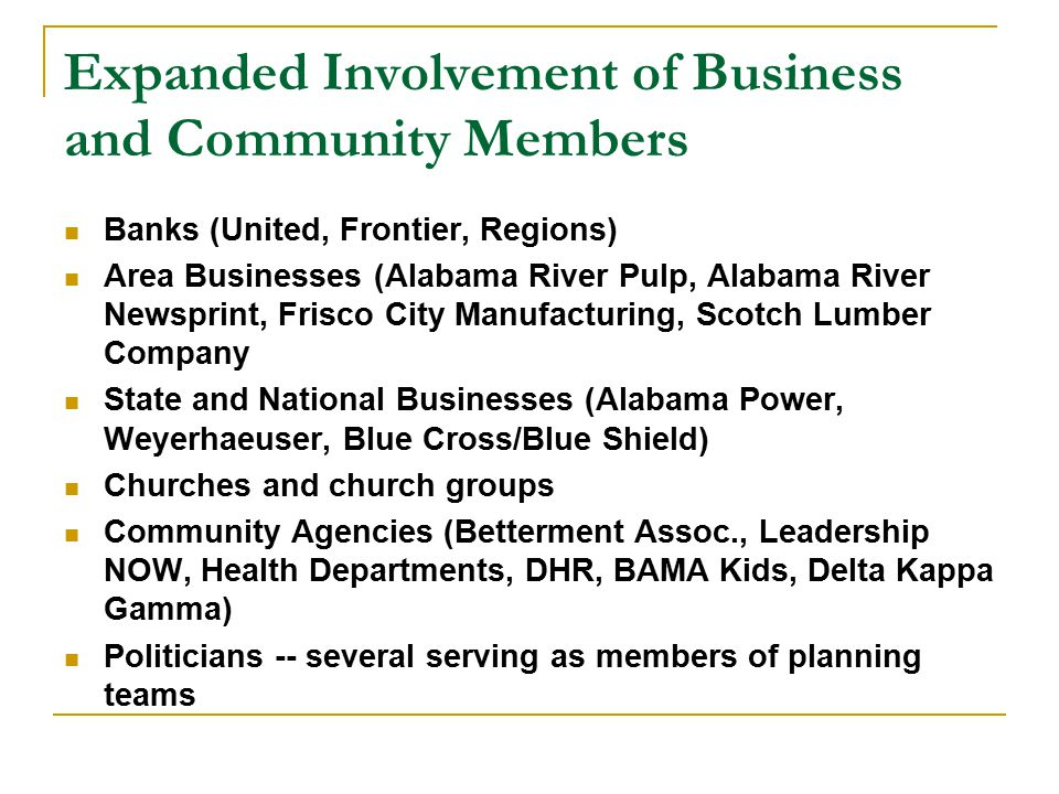 Alabama Communities of Excellence Non-profit organization comprised of businesses, community agencies, social service agencies, higher education, and others focused on helping small communities to improve their quality of life Competitive process-8 communities selected the first year Our role is to help conduct educational assessments