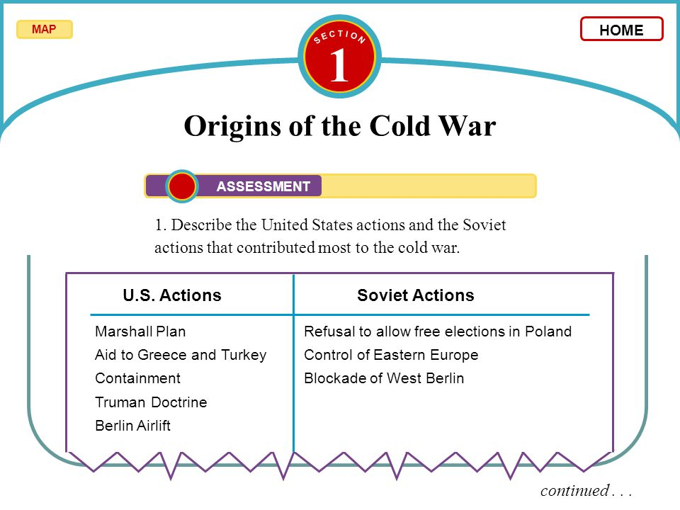 1 Origins of the Cold War 1. Describe the United States actions and the Soviet actions that contributed most to the cold war. continued... U.S. Action