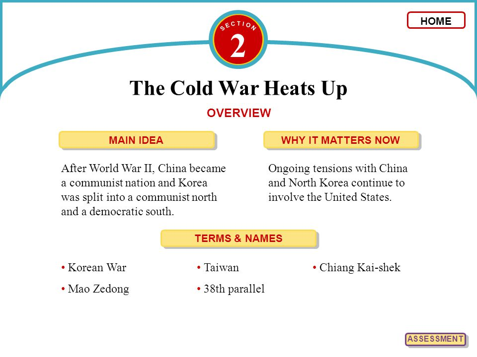2 The Cold War Heats Up HOME OVERVIEW After World War II, China became a communist nation and Korea was split into a communist north and a democratic south.