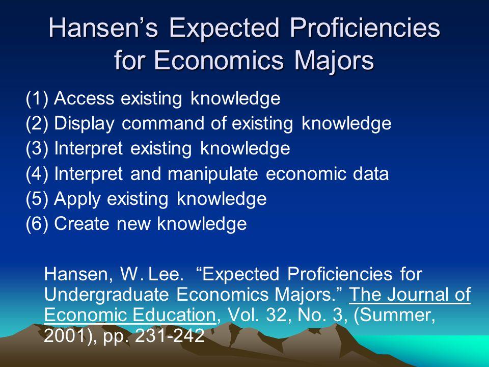 Hansen's Expected Proficiencies for Economics Majors (1) Access existing knowledge (2) Display command of existing knowledge (3) Interpret existing knowledge (4) Interpret and manipulate economic data (5) Apply existing knowledge (6) Create new knowledge Hansen, W.