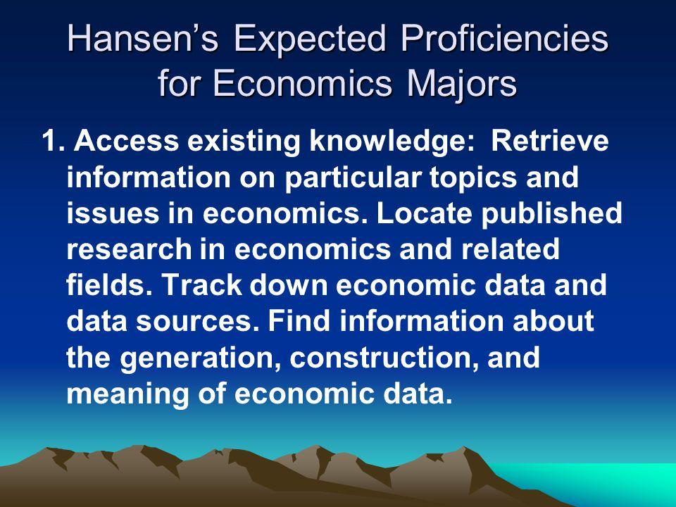 Hansen's Expected Proficiencies for Economics Majors 1.