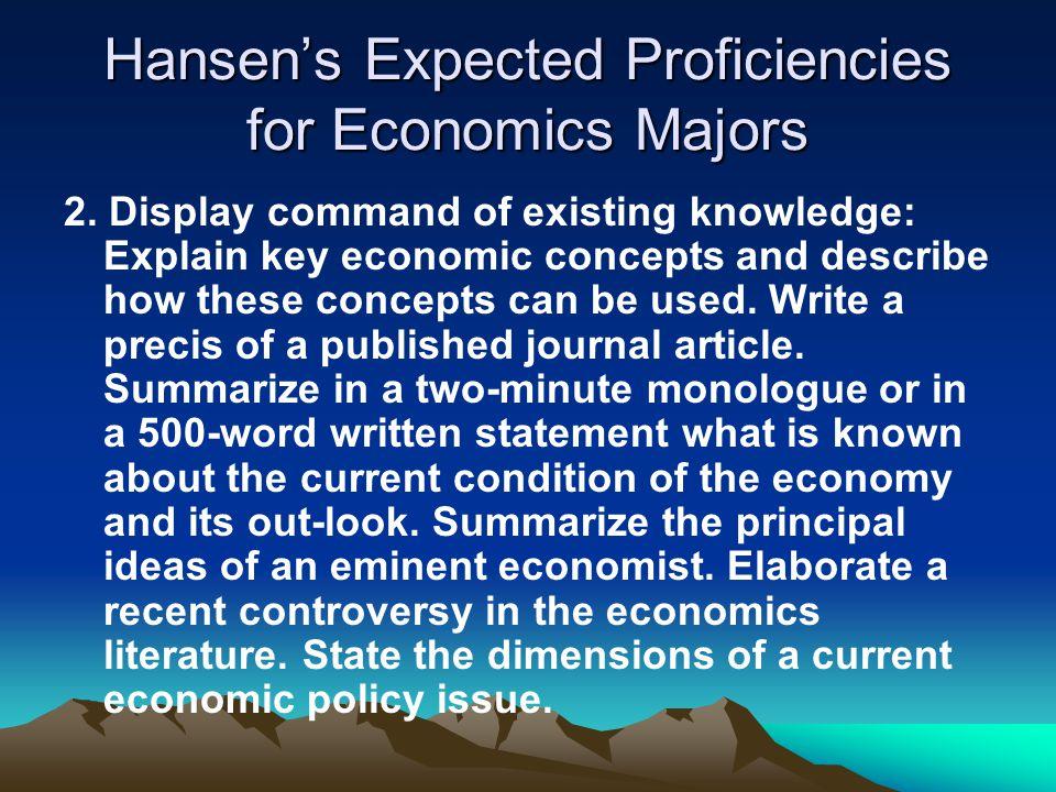 Hansen's Expected Proficiencies for Economics Majors 2.