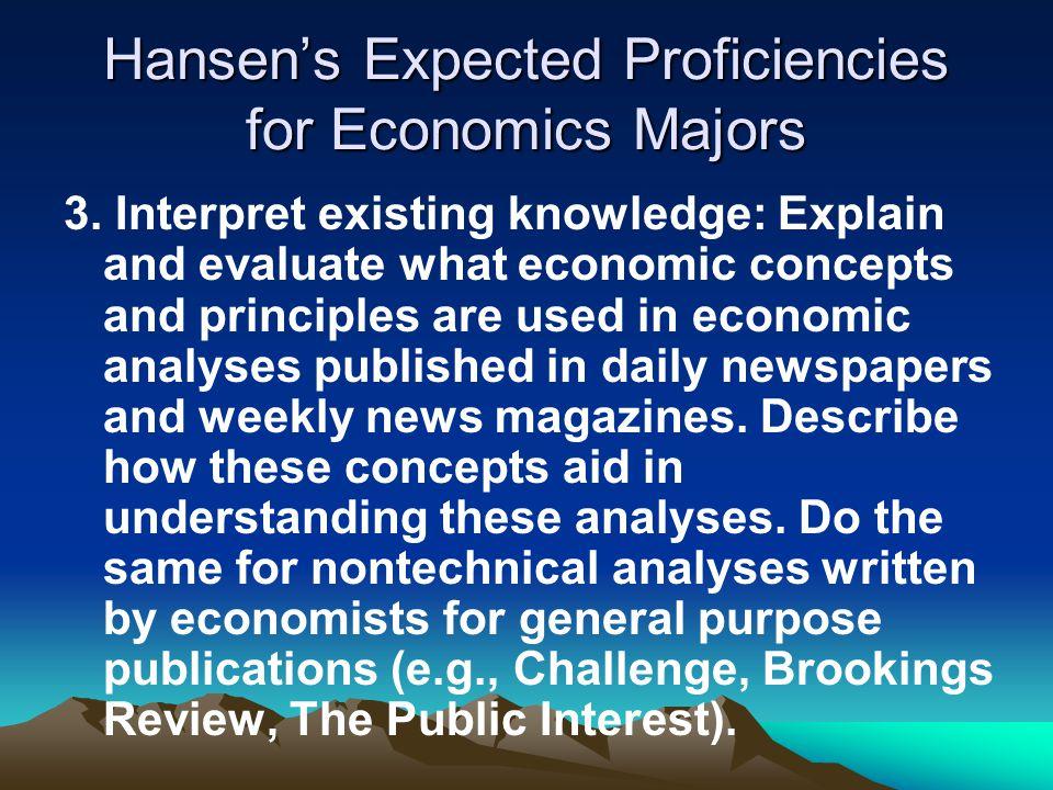 Hansen's Expected Proficiencies for Economics Majors 3.