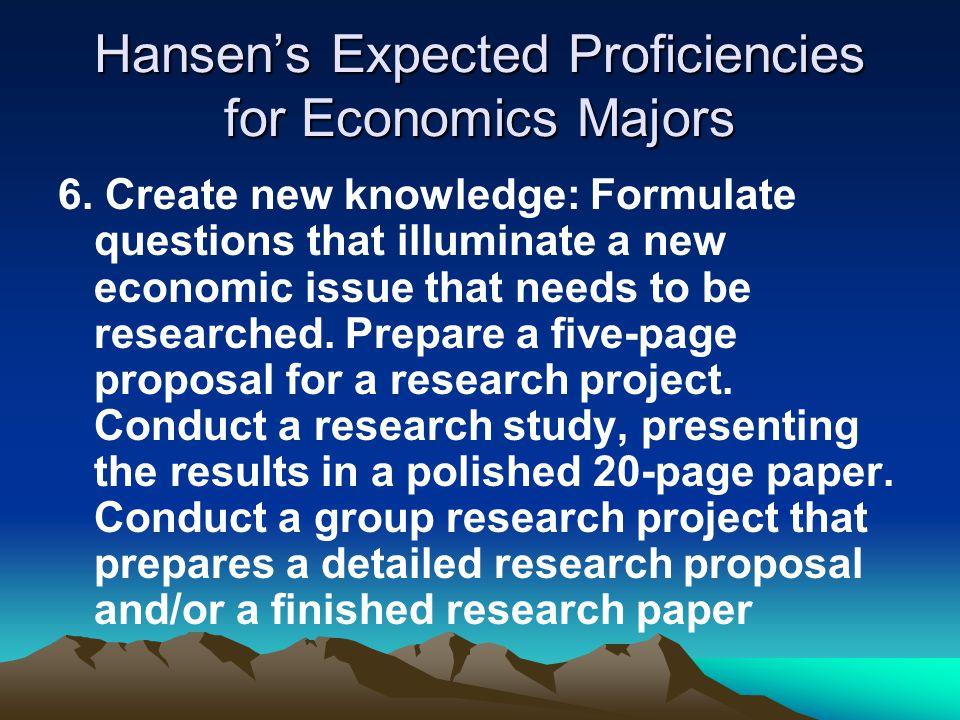 Hansen's Expected Proficiencies for Economics Majors 6.