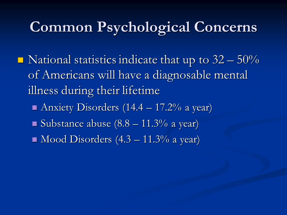 Common Psychological Concerns National statistics indicate that up to 32 – 50% of Americans will have a diagnosable mental illness during their lifetime National statistics indicate that up to 32 – 50% of Americans will have a diagnosable mental illness during their lifetime Anxiety Disorders (14.4 – 17.2% a year) Anxiety Disorders (14.4 – 17.2% a year) Substance abuse (8.8 – 11.3% a year) Substance abuse (8.8 – 11.3% a year) Mood Disorders (4.3 – 11.3% a year) Mood Disorders (4.3 – 11.3% a year)