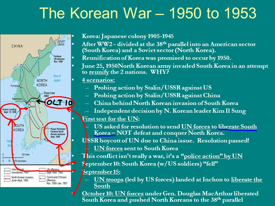The Korean War – 1950 to 1953 Korea: Japanese colony 1905-1945 After WW2 - divided at the 38 th parallel into an American sector (South Korea) and a Soviet sector (North Korea).