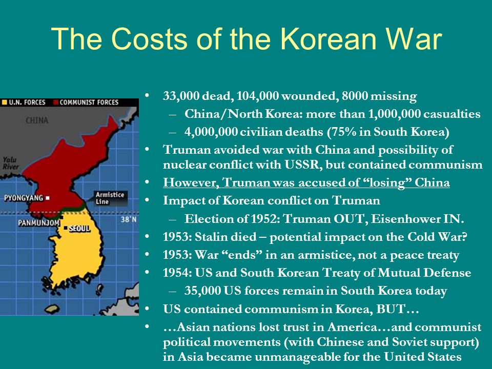 The Costs of the Korean War 33,000 dead, 104,000 wounded, 8000 missing –China/North Korea: more than 1,000,000 casualties –4,000,000 civilian deaths (75% in South Korea) Truman avoided war with China and possibility of nuclear conflict with USSR, but contained communism However, Truman was accused of losing China Impact of Korean conflict on Truman –Election of 1952: Truman OUT, Eisenhower IN.