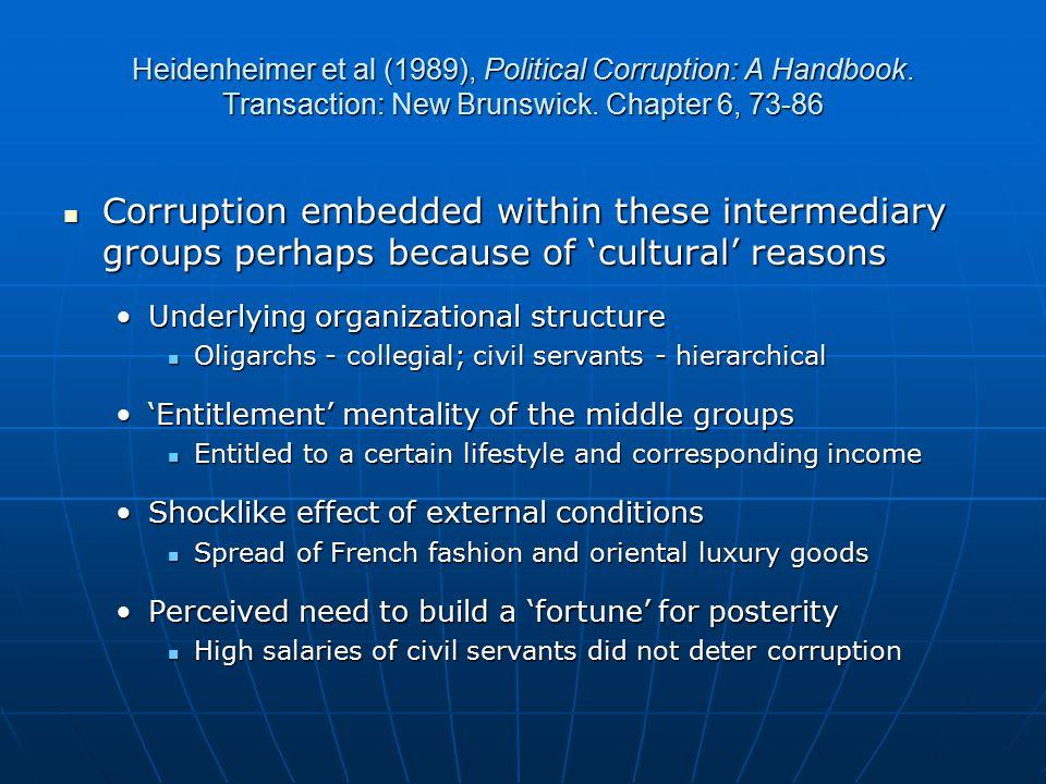 Heidenheimer et al (1989), Political Corruption: A Handbook.