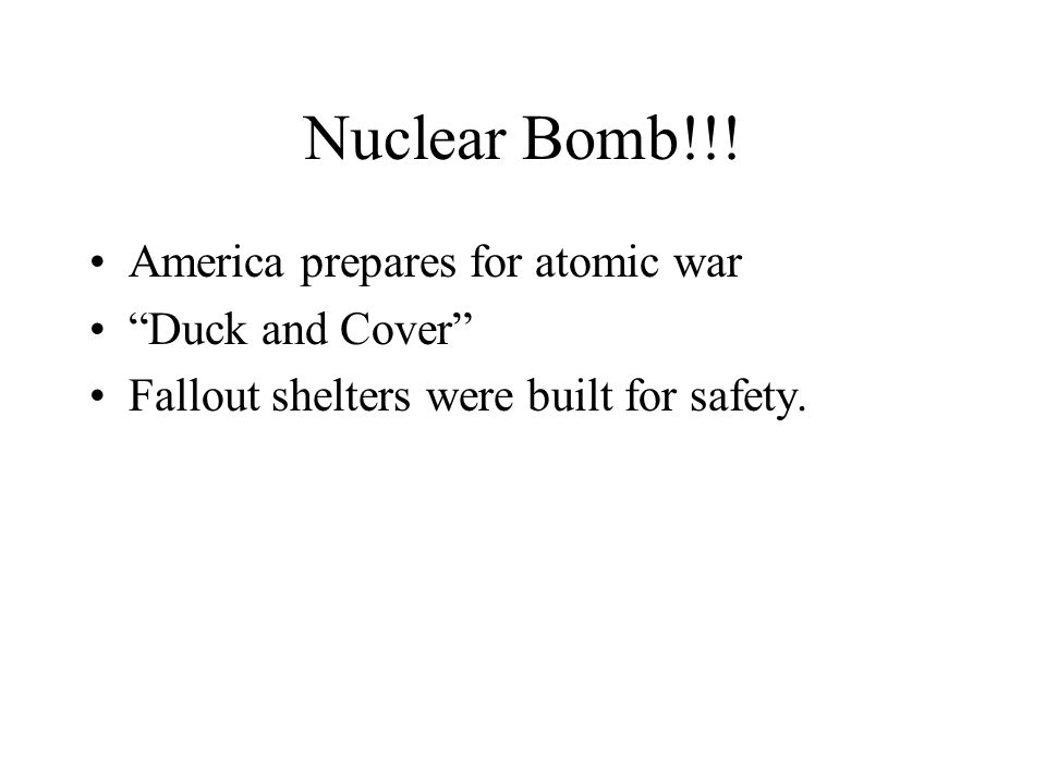 """Nuclear Bomb!!! America prepares for atomic war """"Duck and Cover"""" Fallout shelters were built for safety."""