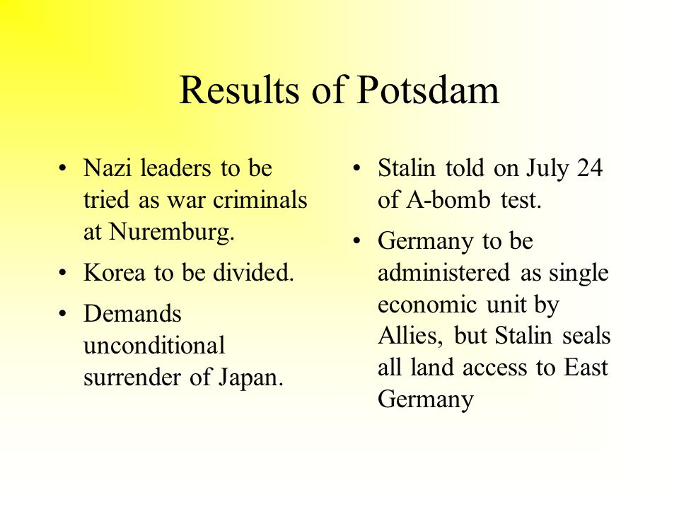 Results of Potsdam Nazi leaders to be tried as war criminals at Nuremburg.