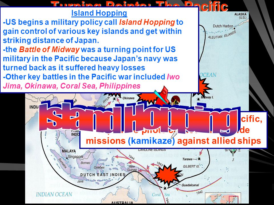 Turning Points: The Pacific Island Hopping -US begins a military policy call Island Hopping to gain control of various key islands and get within striking distance of Japan.