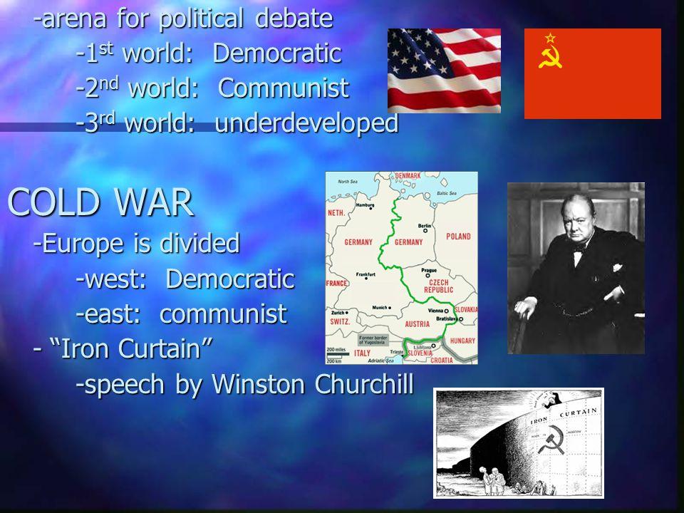 -arena for political debate -1 st world: Democratic -2 nd world: Communist -3 rd world: underdeveloped COLD WAR -Europe is divided -west: Democratic -