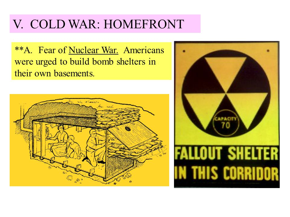 V. COLD WAR: HOMEFRONT **A. Fear of Nuclear War. Americans were urged to build bomb shelters in their own basements.
