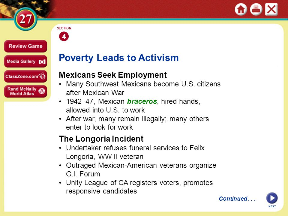 NEXT 4 SECTION Mexicans Seek Employment Many Southwest Mexicans become U.S.