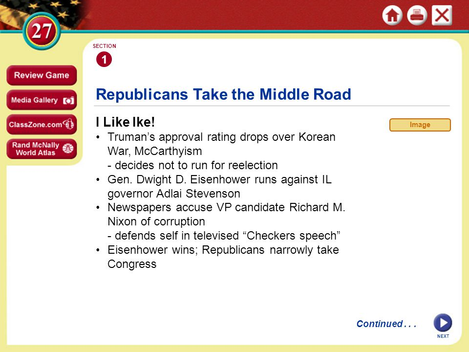 Republicans Take the Middle Road I Like Ike.
